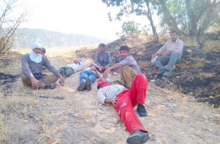 """تصویری جالب ودیدنی از مصائب جنگلبانان در آتش سوزی """"آب حیات"""" سرفاریاب+تصویر"""