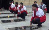 غبار روبی گلزار شهدای شهر چرام+تصاویر